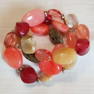 Jewelry - Triple Strand Pink Cream Silver Bead Bracelet